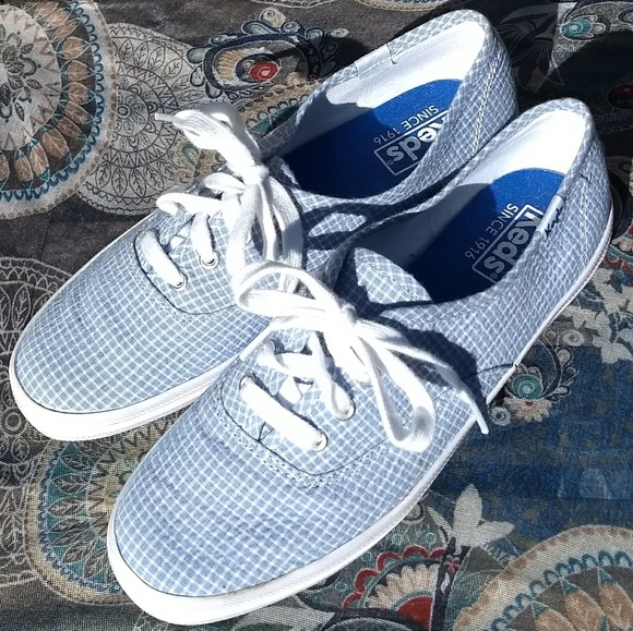 Keds Shoes - KEDS  Lt Blue & Wite Checked Tennis Shoes Sz6